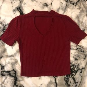 Red Crop Top with Cut Out
